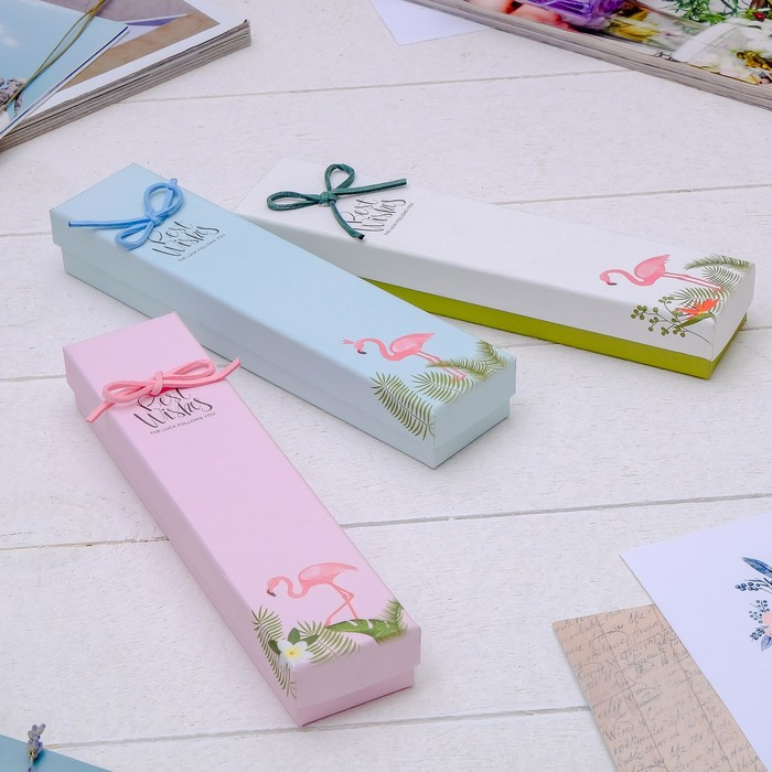 """Коробочка подарочная под браслет/цепочку/часы """"Фламинго"""" 20*4*3см, цвет МИКС - фото 408656836"""