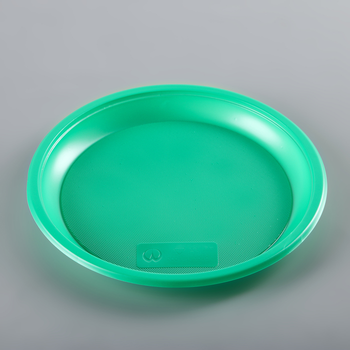 Набор тарелок одноразовых 21 см, 12 шт, цвет зеленый