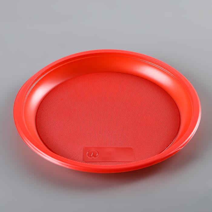 Набор тарелок одноразовых 21 см, 12 шт, цвет красный
