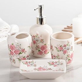 "Set of bathroom accessories, 4 piece ""Pink roses"""