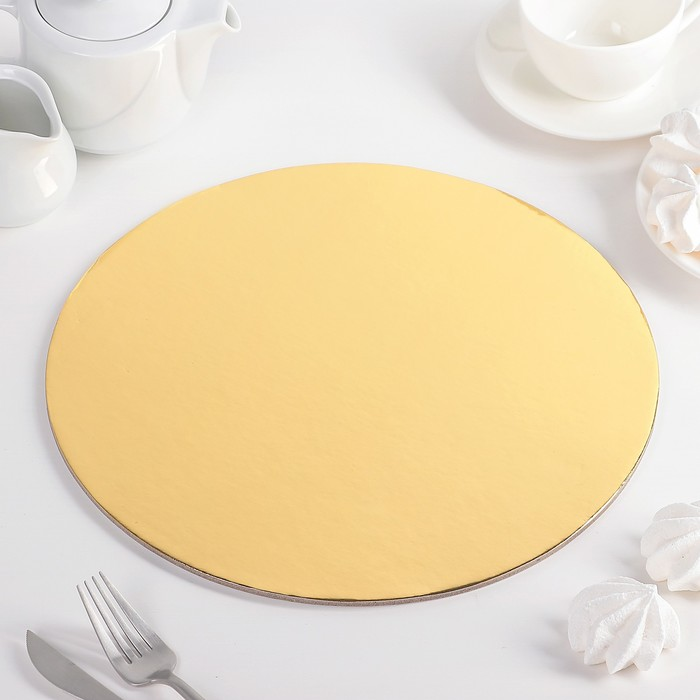 """Подложка для торта 30,5 см """"Круг"""", цвет золото"""