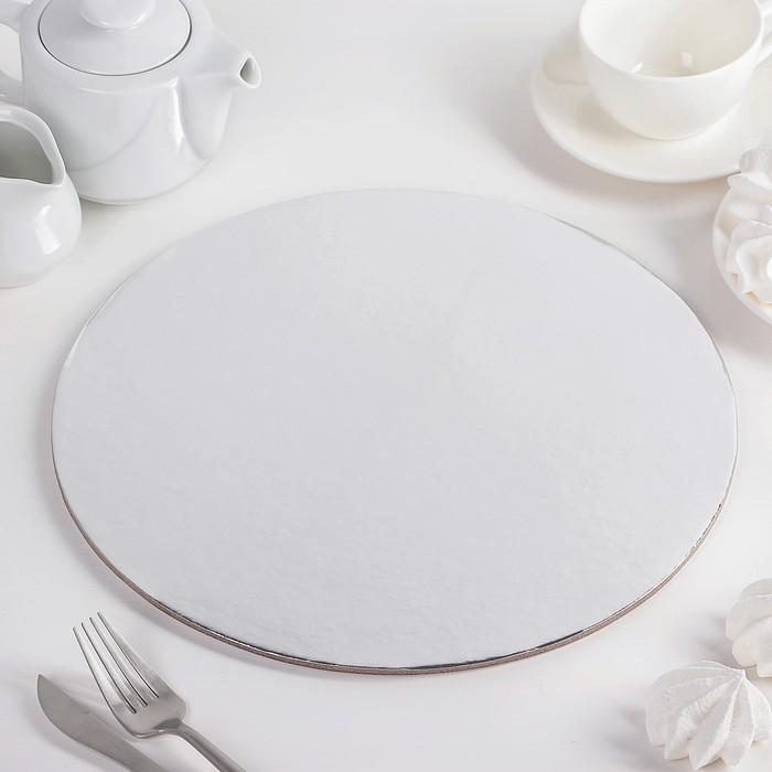 """Подложка для торта 30,5 см """"Круг"""", цвет серебро"""