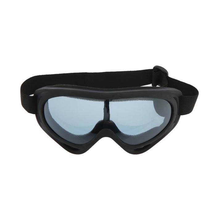Очки для езды на мототехнике, стекло синее, цвет черный