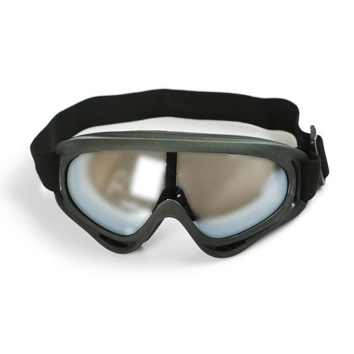 Очки для езды на мототехнике, стекло хром, цвет черный