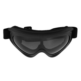 Очки для езды на мототехнике, стекло прозрачное серое, цвет черный