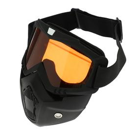 Очки-маска для езды на мототехнике, разборные, стекло оранжевый хром, черный