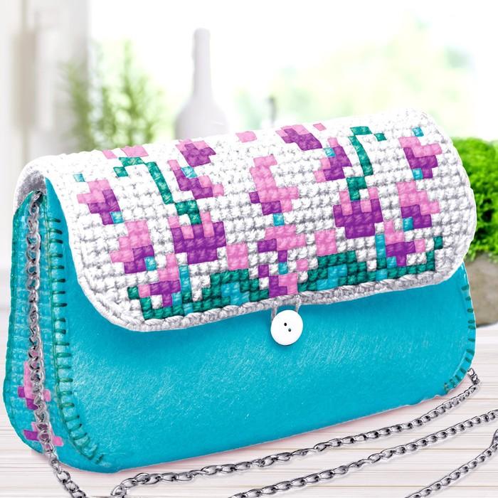 """Вышивка крестиком на сумочке """"Прованс"""", 5 цветов нити"""