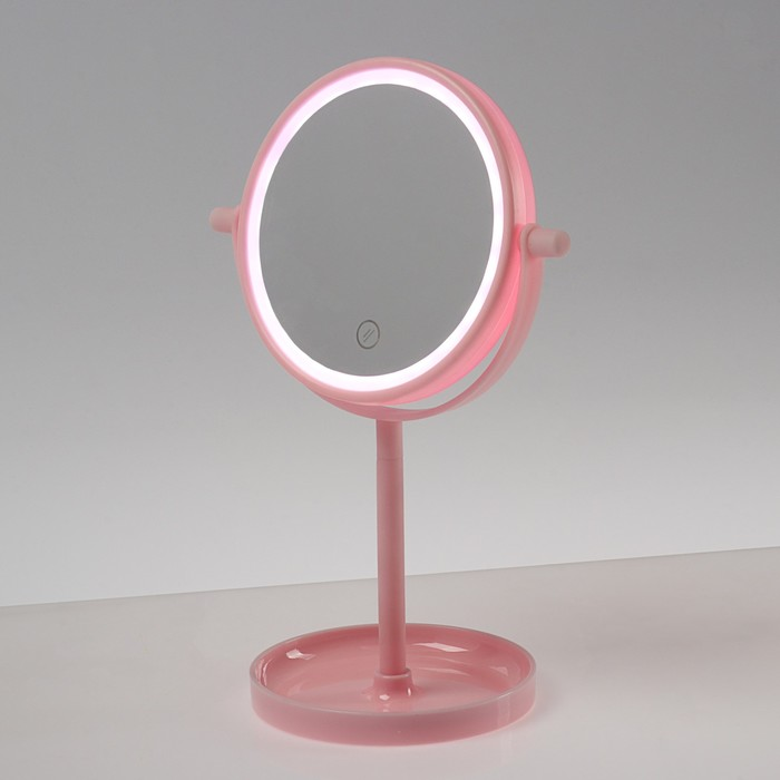 Зеркало LuazON KZ-04, подсветка, настольное, 19.5 × 13 × 29.5 см, 4хААА, сенсорная кнопка