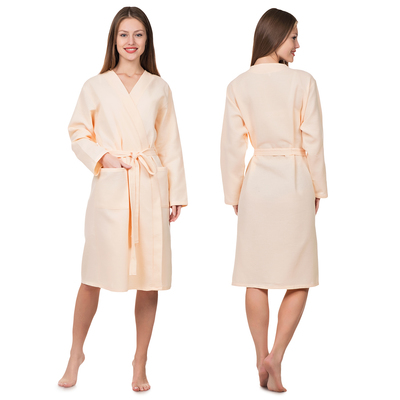 Waffle Bathrobe Zapashny female p-p 48, Col.Peach, 160 g/m CL.100%