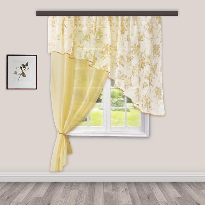 Комплект штор для кухни Византия 280х160 см, св.золото лев., 100% п/э