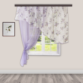 A set of curtains for the kitchen Byzantium 280x160 cm, lilac, left, 100% plastic
