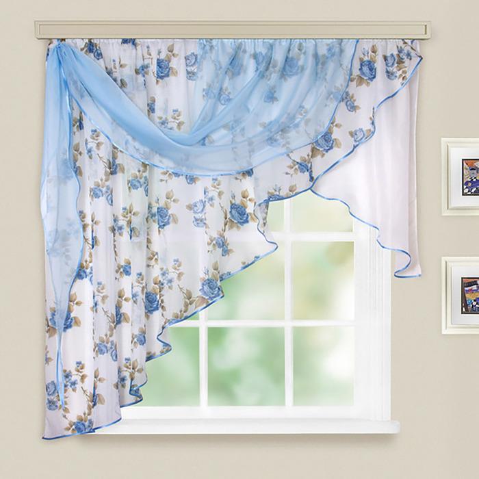 Комплект штор для кухни Иллюзия 300х150 см, голубой, левая, 100% п/э