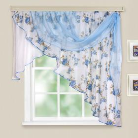 Комплект штор для кухни Иллюзия 300х150 см, голубой, правая, 100% п/э