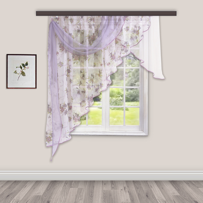 Комплект штор для кухни Иллюзия 300х150 см, сирень, левая, 100% п/э