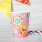 Стакан бумажный «Мишка и сладости», 190 мл, набор 6 шт., цвет розовый