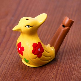 "Ceramic tin whistle ""Bird with tuft"" flowered MIX"