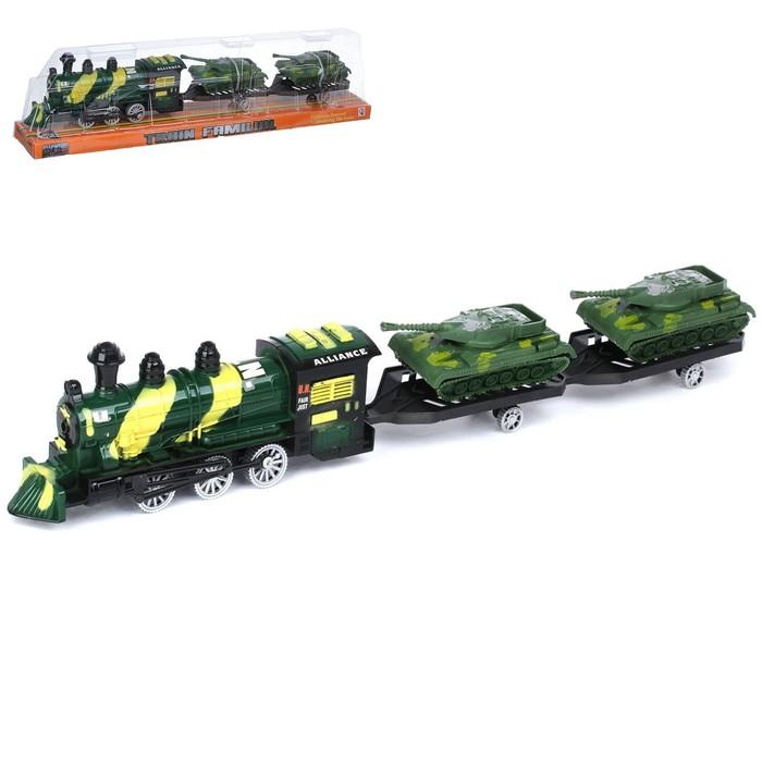 Паровоз инерционный «Военный», с танками, цвета МИКС - фото 105655776