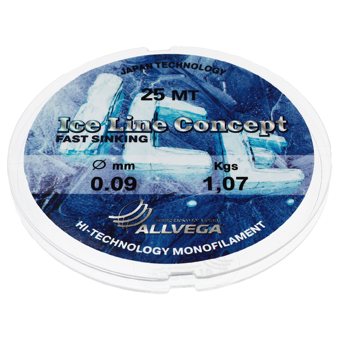Леска монофильная ALLVEGA «Ice Line Concept», 25 м, 0,09 мм (1,07 кг), прозрачная