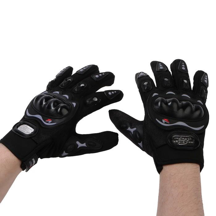 Перчатки для езды на мототехнике, с защитными вставками, пара, размер L, черные