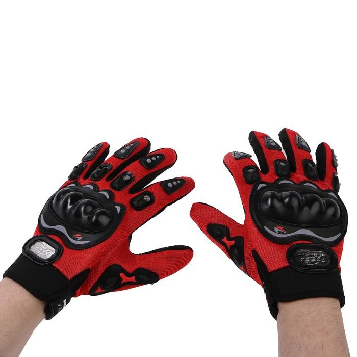 Перчатки для езды на мототехнике, с защитными вставками, пара, размер XL, красный