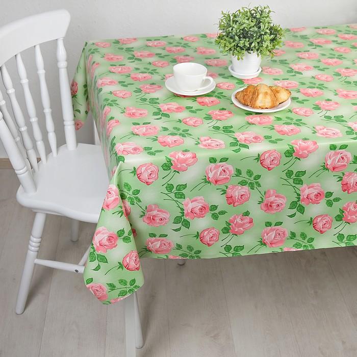 """Клеёнка столовая на ткани """"Роза на зелёном"""", 1,25 × 25 метров, цвет зелёный"""