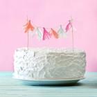 """Украшения для торта """"Нежность"""" тассел роз+фуксия+белый"""
