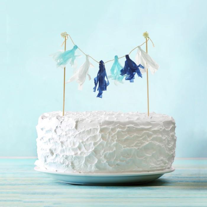 Украшения для торта «Дыхание моря», тассел, цвета голубой, синий, белый - фото 700297