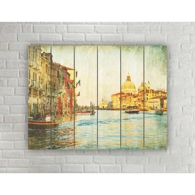 """Картина на дереве в стиле Loft """"Венеция"""" №1.3, 56*42 см"""