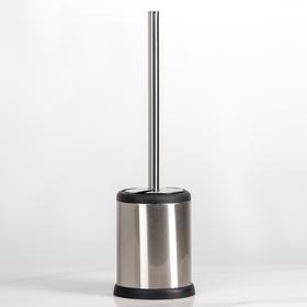 Ёрш для унитаза с подставкой, 11×11×40 см, цвет серебристый