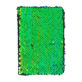 Записная книжка подарочная формат А6, 80 листов, линия, Пайетки двухцветные зелено-синие