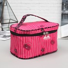 Cosmetic bag-trunk, division zipper, mirror, color raspberry