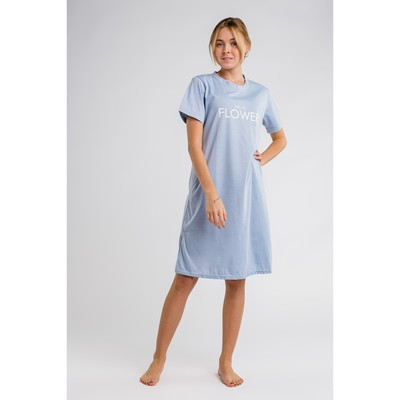 Платье домашнее Hello flower, размер 44-46, цвет голубой
