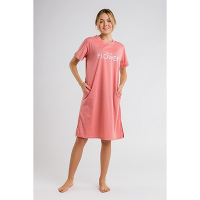 Платье домашнее Hello flower, размер 44-46, цвет розовый