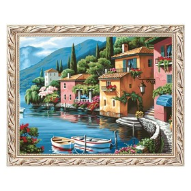 Алмазная мозаика «Домики у моря» 40 × 30 см, 33 цвета