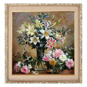 Алмазная мозаика «Вазы с цветами» 40-40см, 40 цветов