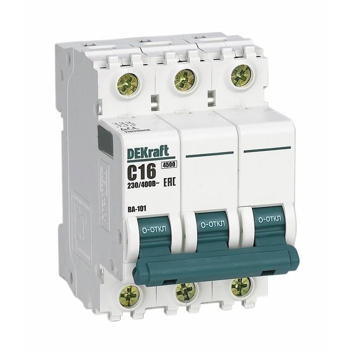Выключатель автоматический DEKraft ВА-101, 3п, 63 А, х-ка С, 4.5 кА