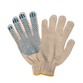 Gloves, cotton, knit 7 class 3 thread, size 10, with PVC dots, white