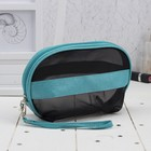 Cosmetic bag-handbag Department with zipper, with handle, color black/turquoise