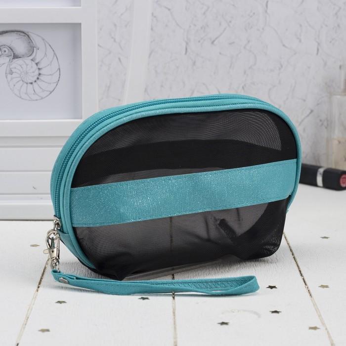 Косметичка-сумочка, отдел на молнии, с ручкой, цвет чёрный/бирюзовый