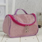 Cosmetic bag-purse, Department zip, mirror color pink