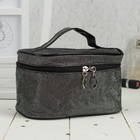 Cosmetic bag-trunk, division zipper, mirror, color black