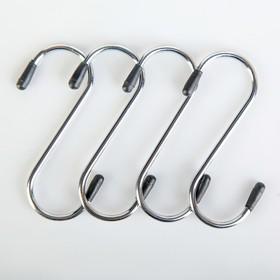 Набор крючков для рейлинга Доляна, d=2,5 см, 8 см, 4 шт, цвет хром
