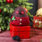 """Новогодняя кукла-игрушка """"Треугольный Снегирь"""" изо льна 15 см"""