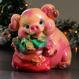 """Копилка """"Свинка с мешком"""", глянец, розовый цвет, 25,5 см, микс"""