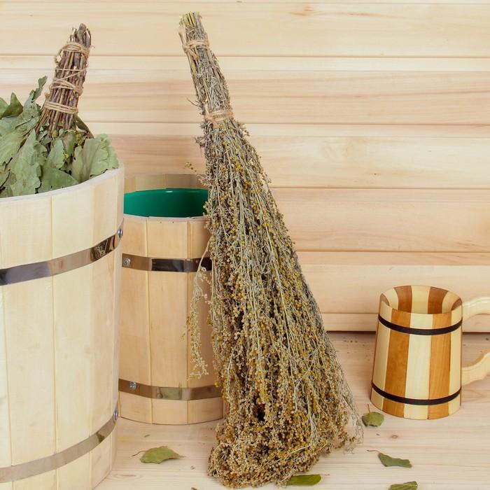 Веник для бани ТРАВЯНОЙ из полыни, в индивидуальной упаковке