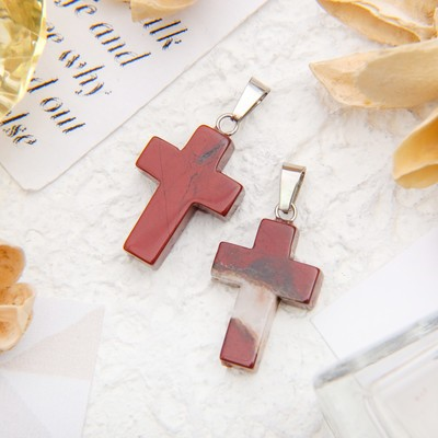 "Pendant cross, ""Jasper red"""