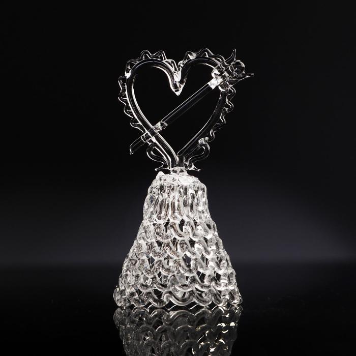 Колокольчик сувенирный «Хрустальное сердце со стрелой», ручной работы