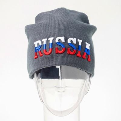 Шапка Russia, цвет хаки, 54-56