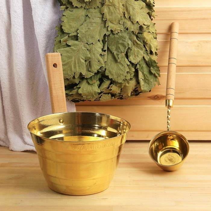 """Набор для бани """"Каменка"""" из двух предметов (ушат и черпак) латунный, в коробке"""