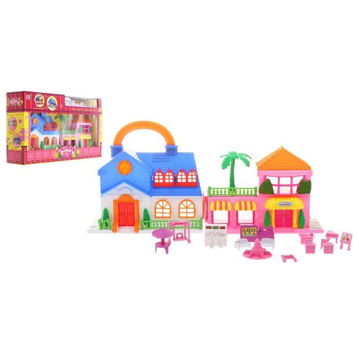 """Дом для кукол """"Загородный дом"""" 2 в 1, складной, в наборе: мебель, фигурки"""